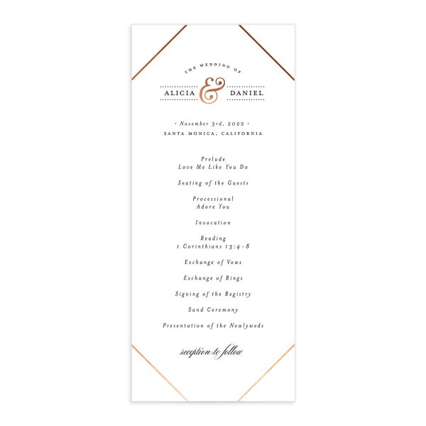 Formal Ampersand Wedding Program Card front white