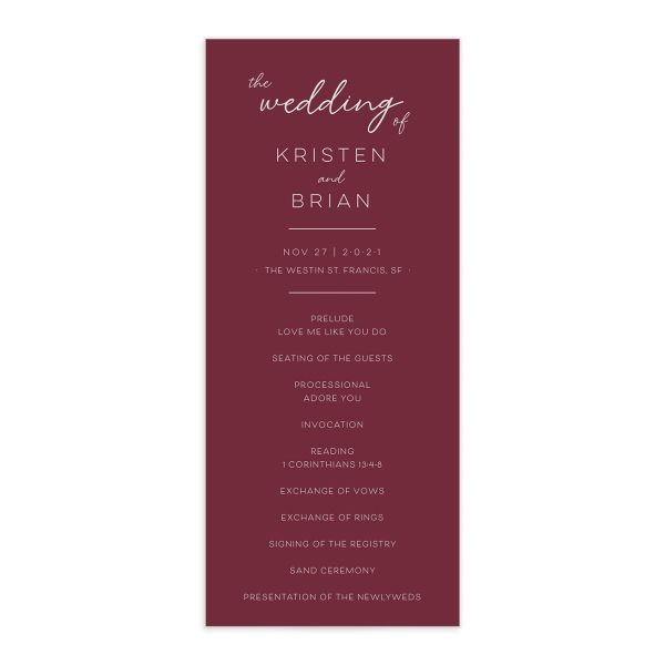 Gold Calligraphy Wedding Program Card front red