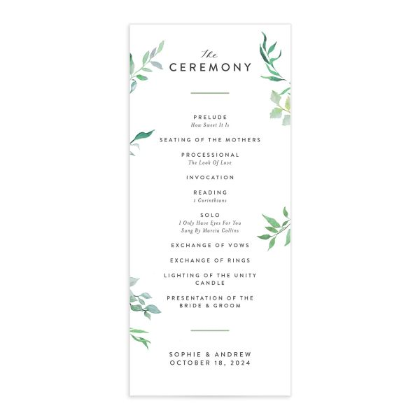 Leafy Ampersand wedding program front catalog green