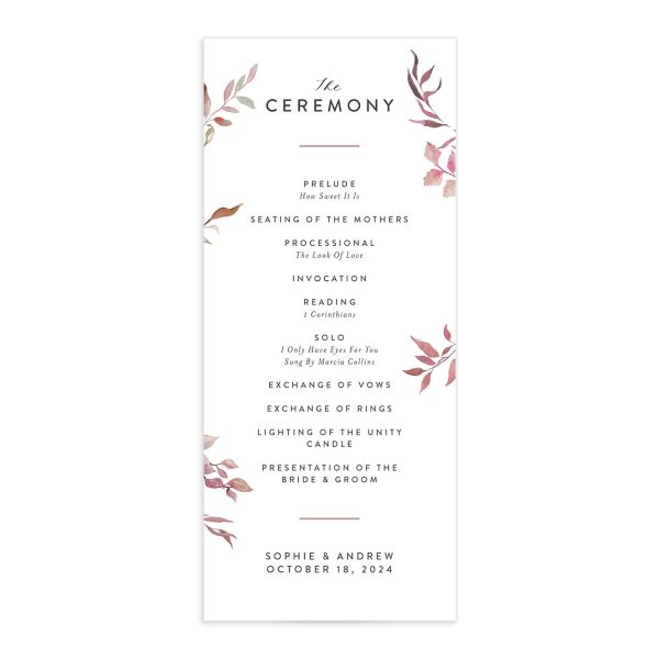 Leafy Ampersand wedding program front catalog purple