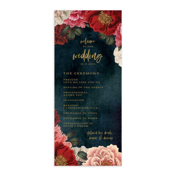 Midnight Peony Wedding Programs