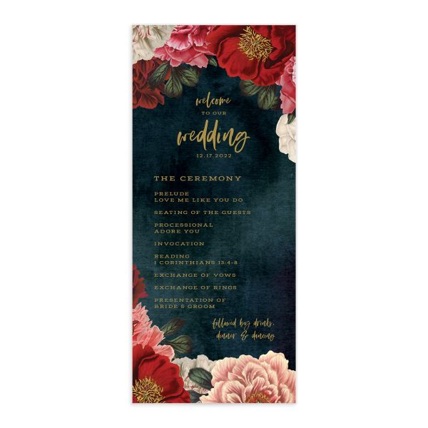 Midnight Peony Wedding Program front