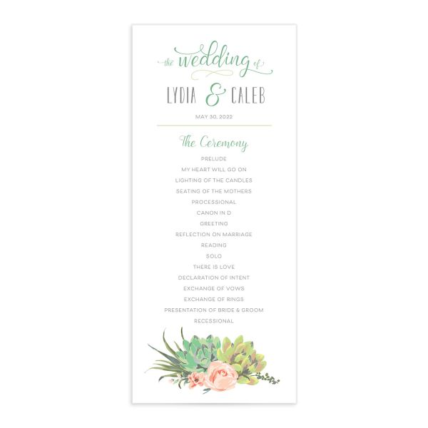 Romantic Succulents wedding program front green