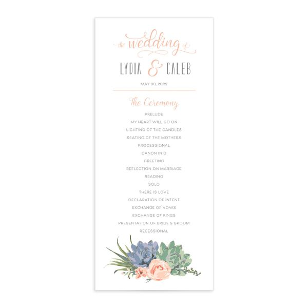 Romantic Succulents wedding program front pink