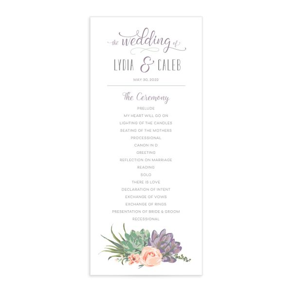 Romantic Succulents wedding program front purple