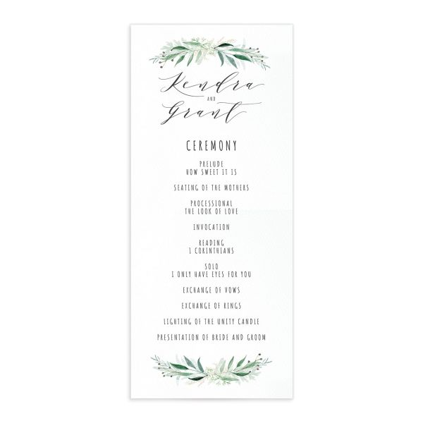 Rustic Wreath Wedding Program front