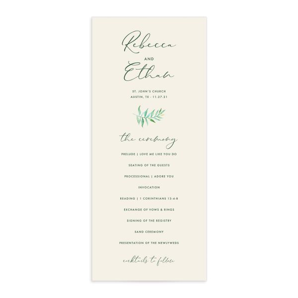 Calligraphic Botanical Wedding Program front cream