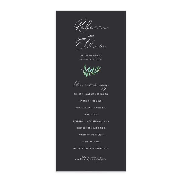 Calligraphic Botanical Wedding Program front grey