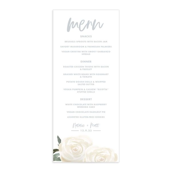 Wintry Floral Wedding Menu front white