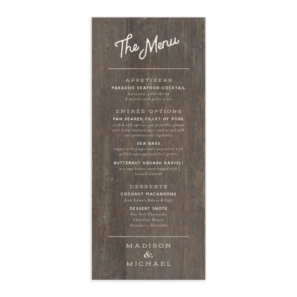 Custom State Wedding Menu Card front