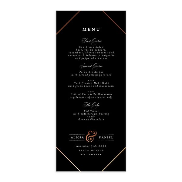 Formal Ampersand Wedding Menu Card front black