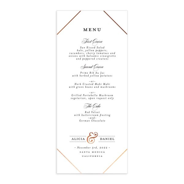 Formal Ampersand Wedding Menu Card front white