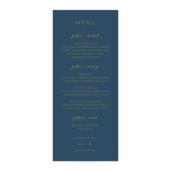 Gold Calligraphy Menu Card front blue