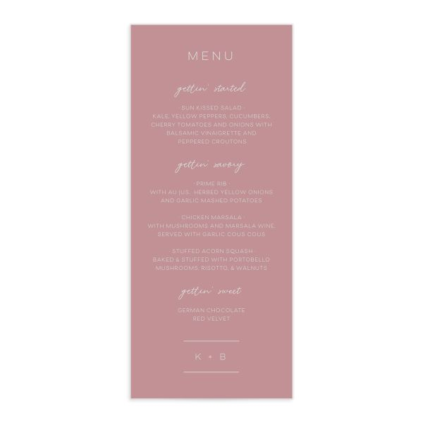 Gold Calligraphy Menu Card front pink