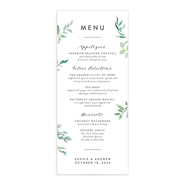 Leafy Ampersand wedding menu catalog green