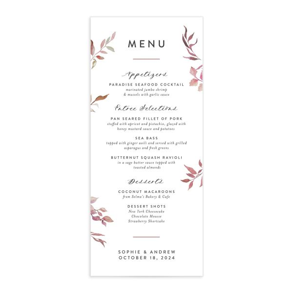 Leafy Ampersand wedding menu catalog purple