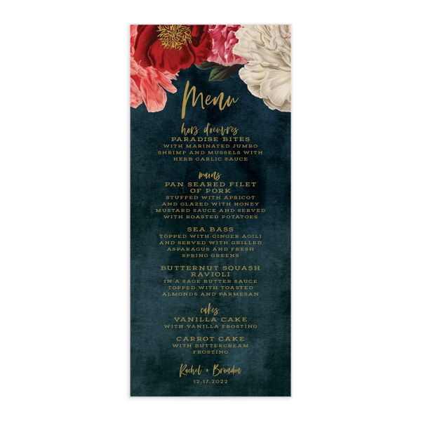 Midnight Peony Menu Card front blue