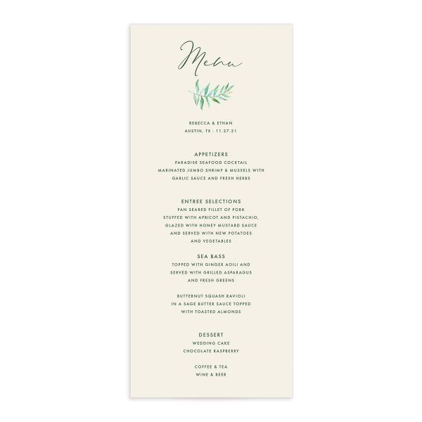 Calligraphic Botanical Menu front cream