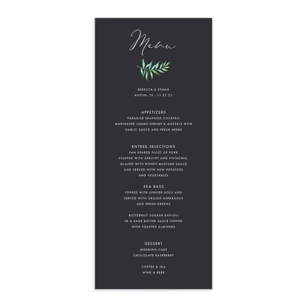 Calligraphic Botanical Menu front grey