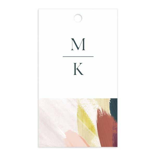 Floral Abstract Wedding Favor Gift Tag front pink