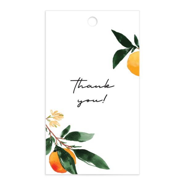 Orange Citrus Favor Gift Tags front closeup