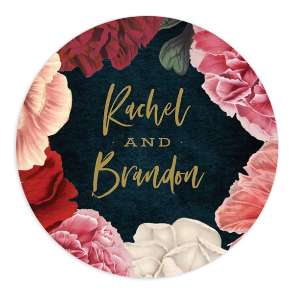Midnight Peony Wedding Sticker