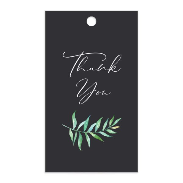 Calligraphic Botanical Wedding Gift Tag front grey