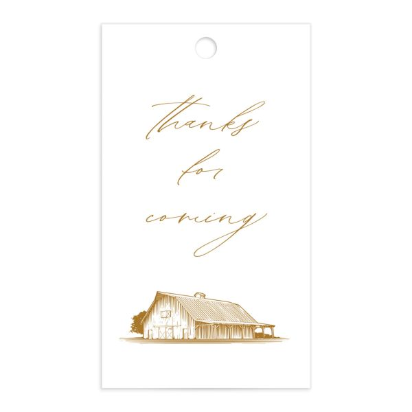 Classic Landscape Wedding Gift Tag front mustard