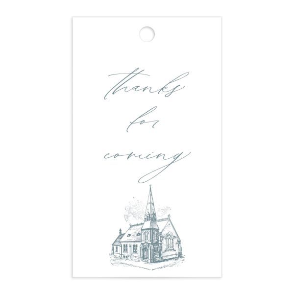 Classic Landscape Wedding Gift Tag front blue