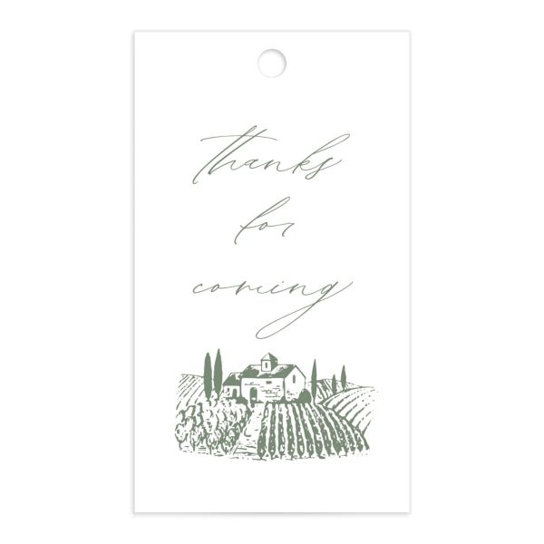 Classic Landscape Wedding Gift Tag front green
