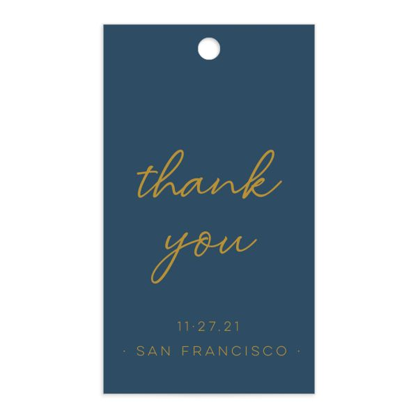 Gold Calligraphy Favor Gift Tag front blue