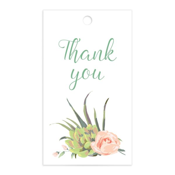 Romantic Succulents gift tag front green