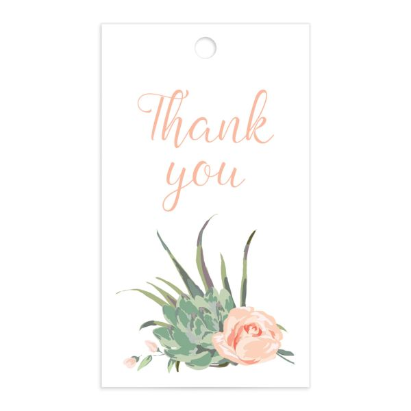 Romantic Succulents gift tag front pink