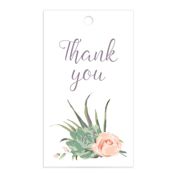 Romantic Succulents gift tag front purple