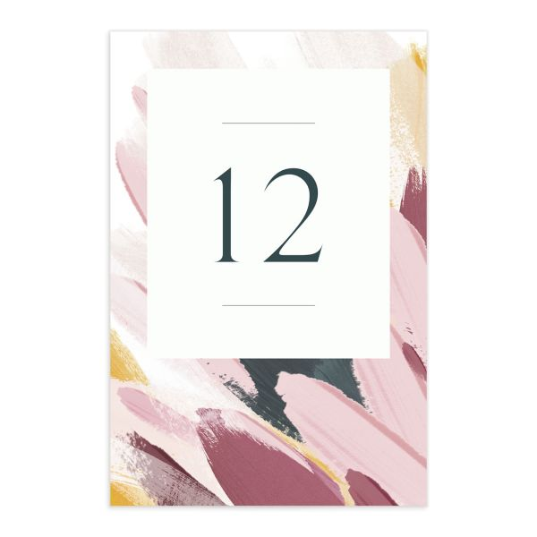Floral Abstract Table Number Cards front purple