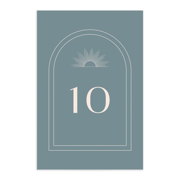 Modern Romantic table number front dusty blue
