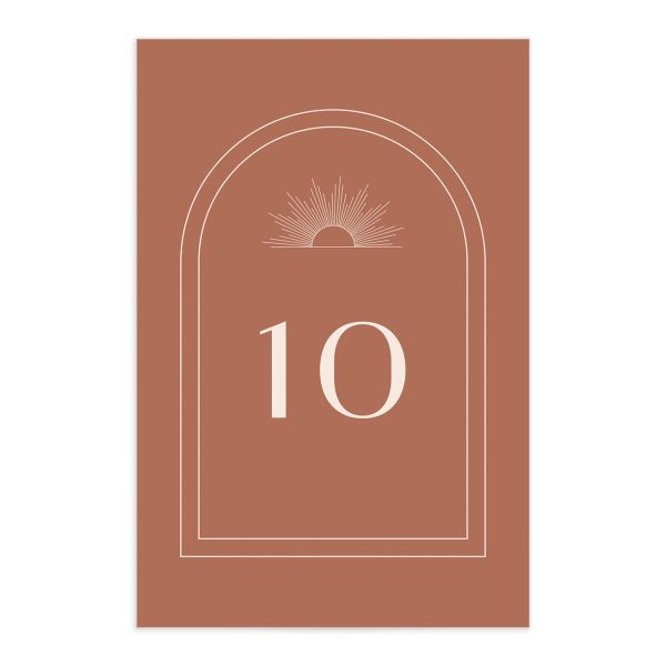 Modern Romantic table number front terra cotta
