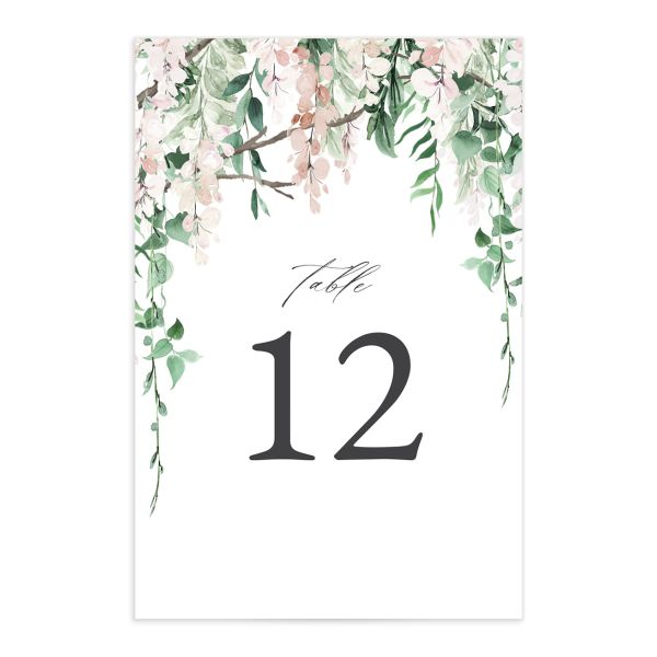 Romantic Wisteria Table Number Cards front pink