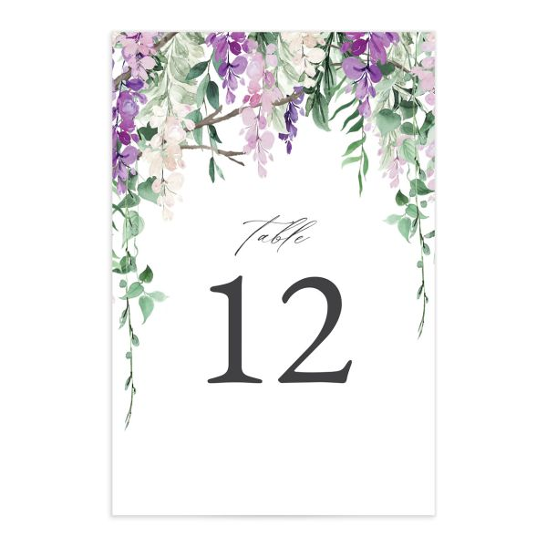 Romantic Wisteria Table Number Cards front purple
