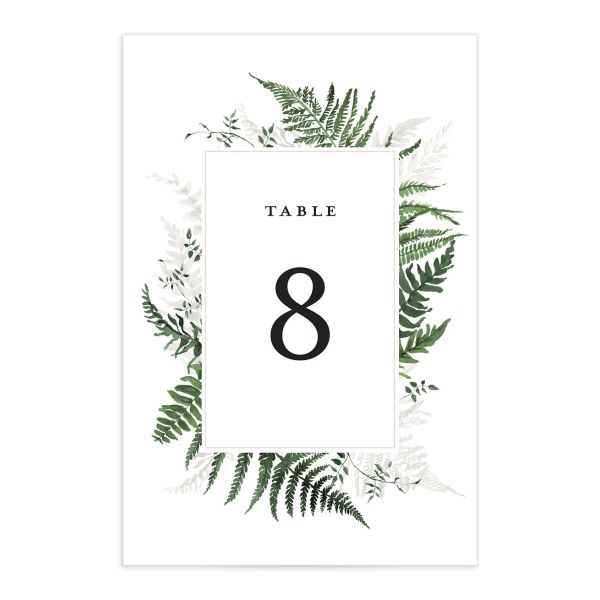 Woodsy Ferns table number front dark green
