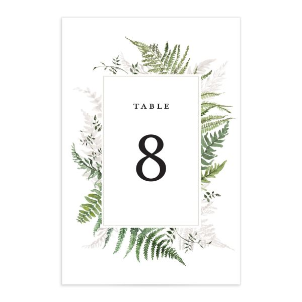 Woodsy Ferns table number front light green