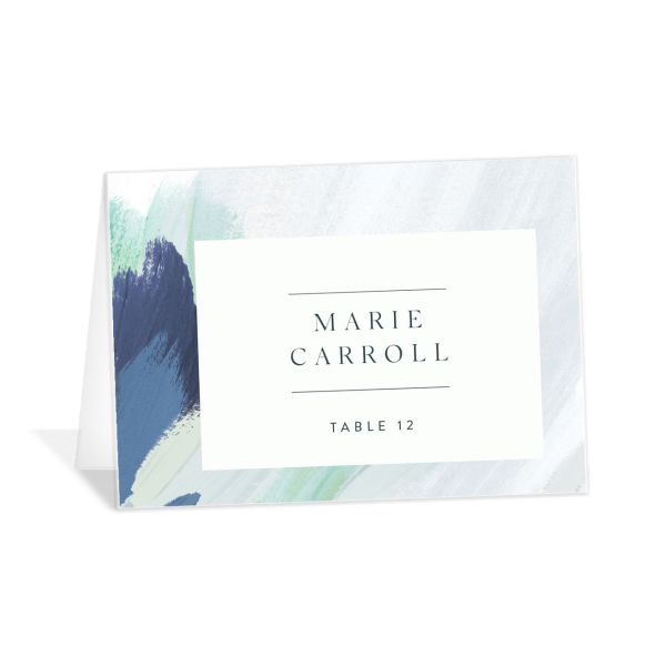 Floral Abstract Place Card front blue