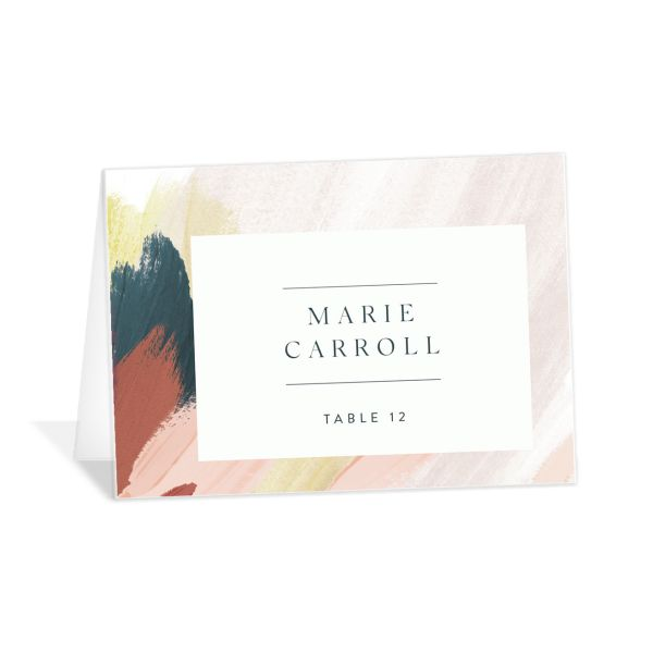 Floral Abstract Place Card front pink