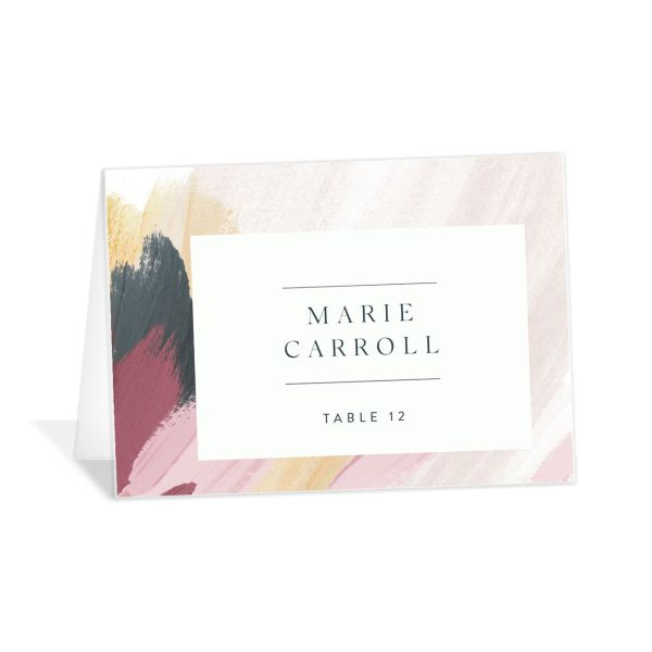 Floral Abstract Place Card front purple