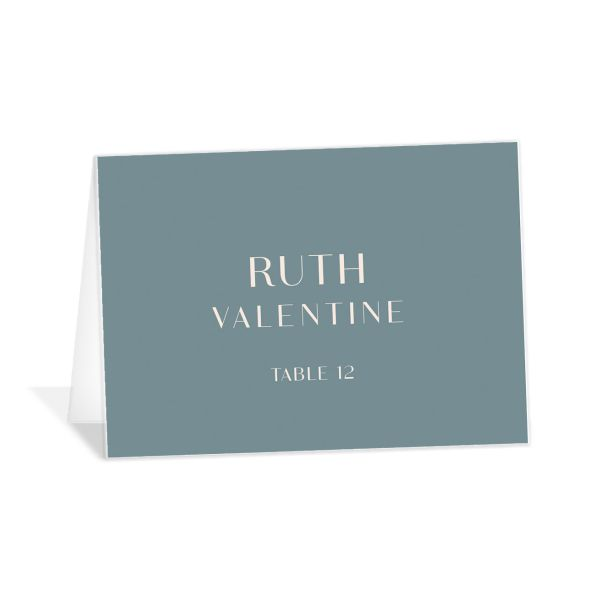 Modern Romantic place card dusty blue