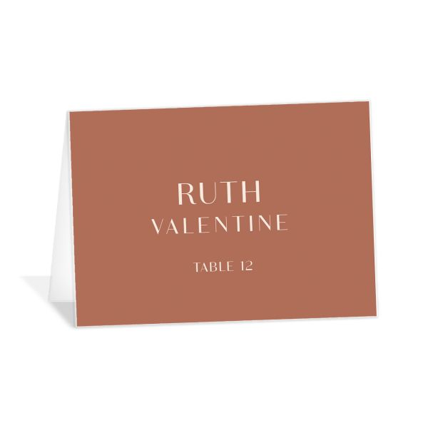 Modern Romantic place card terra cotta