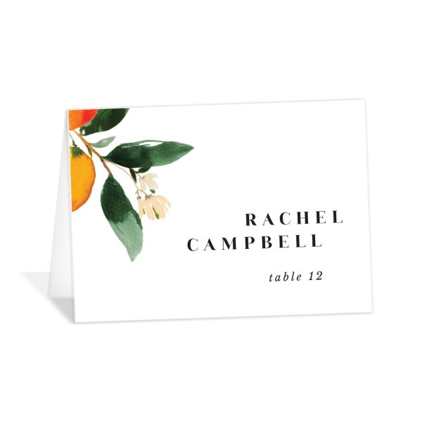 Orange Citrus Wedding Place Card front