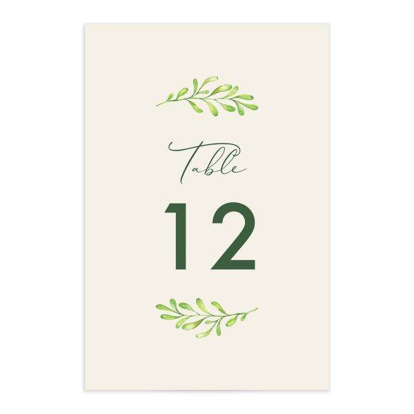 Calligraphic Botanical Wedding Table Number front cream