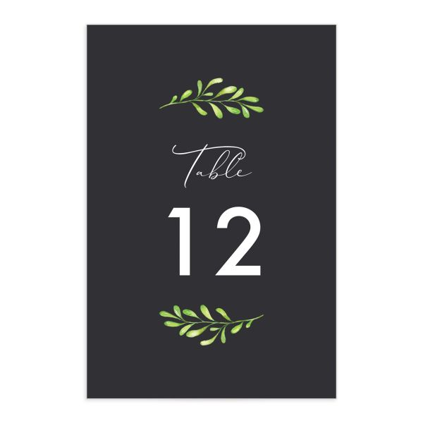 Calligraphic Botanical Wedding Table Number front grey