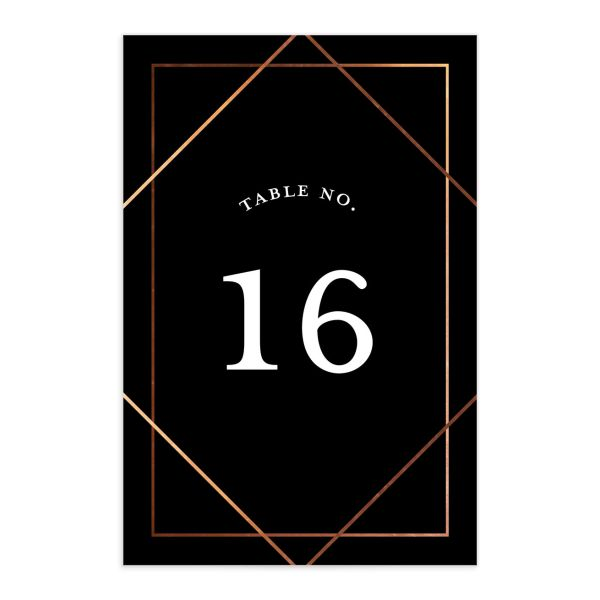 Formal Ampersand Wedding Table Number front black